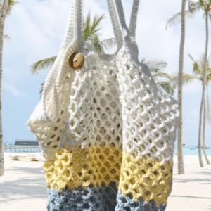 Strandtas van katoen roestbruin gekleurd