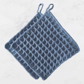 Pannenlappen van katoen in jeansblauw